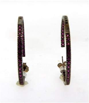 LOVELY 14k Gold & Ruby Hoop Earrings!