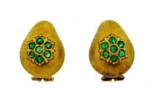 LOVELY Buccellati 18k Yellow Gold & Emerald Earrings