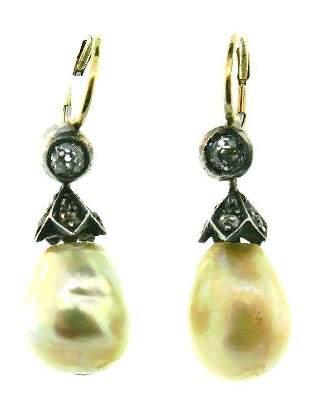ANTIQUE 14k Rose Gold, Silver, Diamond & Baroque Pearl