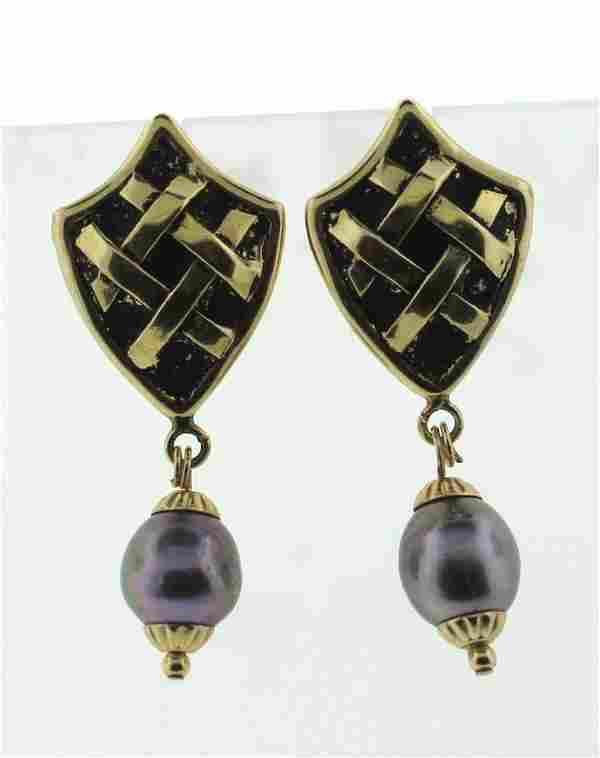STYLISH Hilary Beane 18K YELLOW GOLD BLACKENED GOLD