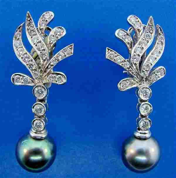 REGAL 18k White Gold, Tahitian Pearl & Diamond Earrings