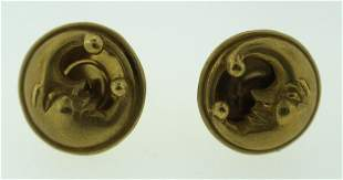 KIESELSTEIN-CO; RD C.1988 SIGNED 18K YELLOW GOLD STUD