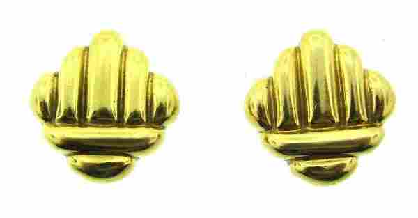 CHIC Cartier 18k Yellow Gold Clip On Earrings Circa