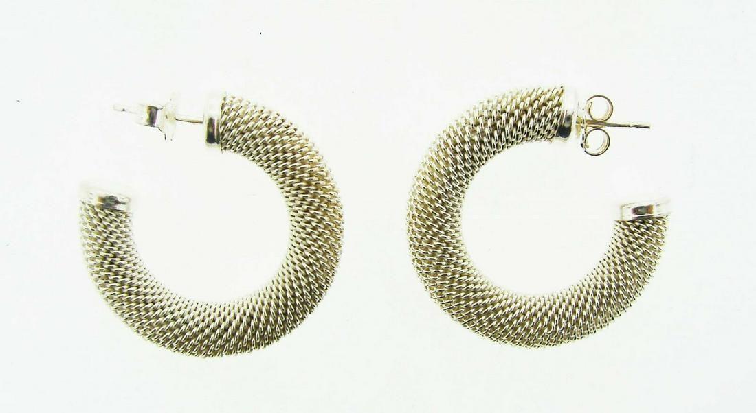 TRENDY Silver Mesh Hoop Earrings Circa 1980s!