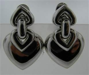 LOVE ME Bulgari 18k White Gold Heart Earrings with