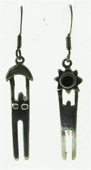 SACRED Silver Aztec Earrings Circa 1930s!