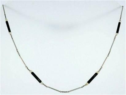 14k White Gold Onyx Seed Pearl Watch Chain Bracelet