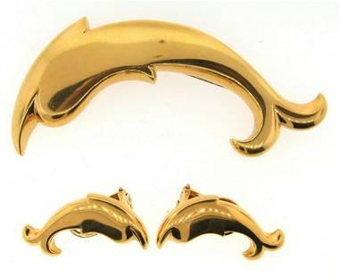 WOW Pomellato 18k Yellow Gold Dolphin Pin & Earrings