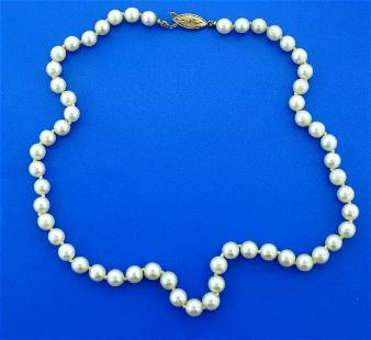 14K YELLOW GOLD CLASP CULTURED SOUTH SEA PEARL STRAND