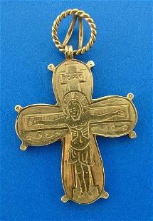 RELIGIOUS Victorian 14k Yellow Gold Cross Pendant Circa