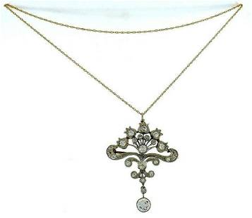 Antique 14k Yellow White Gold Diamond Necklace