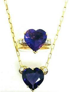 LOVE ME Amethyst Heart Diamond Yellow Gold Chain