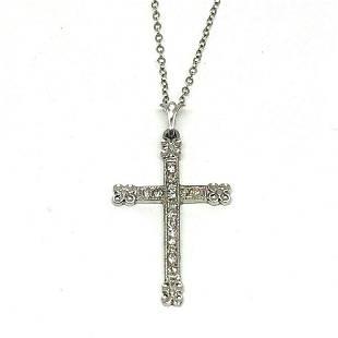 Diamond Platinum Cross 14K White Gold Chain Necklace