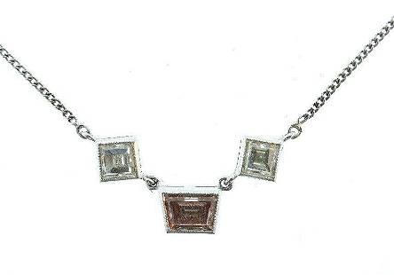 14K White Gold Chain Necklace Pendant Cognac Trapezoid