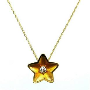VINTAGE 14k Yellow Gold & Diamond Star Necklace