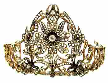YELLOW GOLD DIAMOND AND RUBIES PERSIAN TIARA