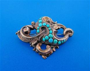 GORGEOUS Victorian 10k Yellow Gold & Turquoise Brooch