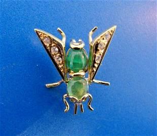 SMALL WORLD 14k Yellow Gold, Diamond & Emerald Bug Pin
