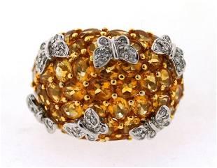 OUTSTANDING 14K WHITE GOLD CITRINE DIAMOND BUTTERFLY