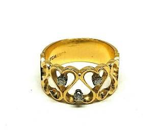 14K Yellow Gold Diamond Heart Love Band Ring