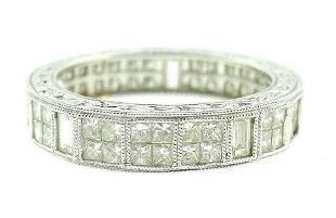 14k White Gold Princess Cut Diamond Band