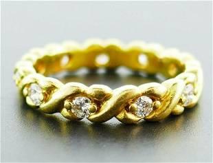 18k Yellow Gold Twisted Diamond Band