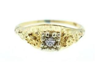 14k Yellow White Gold Diamond Ring