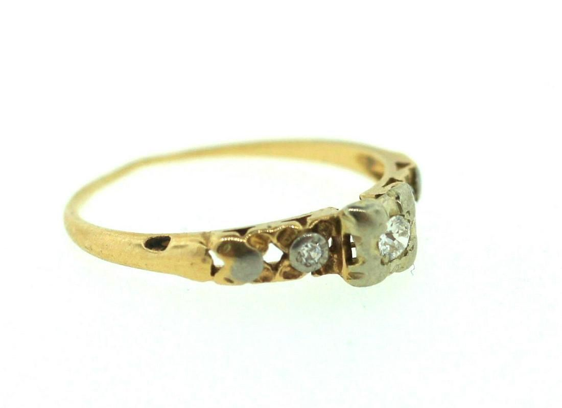 14K YELLOW GOLD ENGAGEMENT RING OLD EURO CUT STAMPED