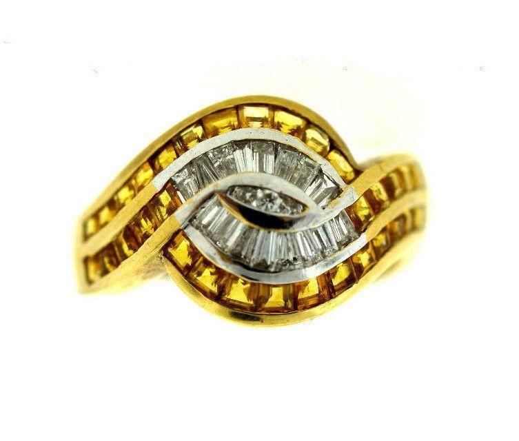 18K YELLOW GOLD YELLOW SAPPHIRE & DIAMOND RING STAMPED