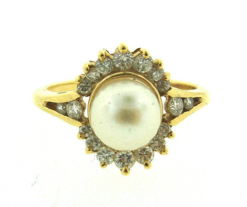 ADORABLE VINTAGE C1980 14K YELLOW GOLD DIAMOND PEARL