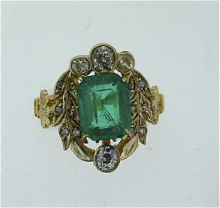 C.1905 UNIQUE 14K YELLOW GOLD DIAMOND GREEN STONE RING