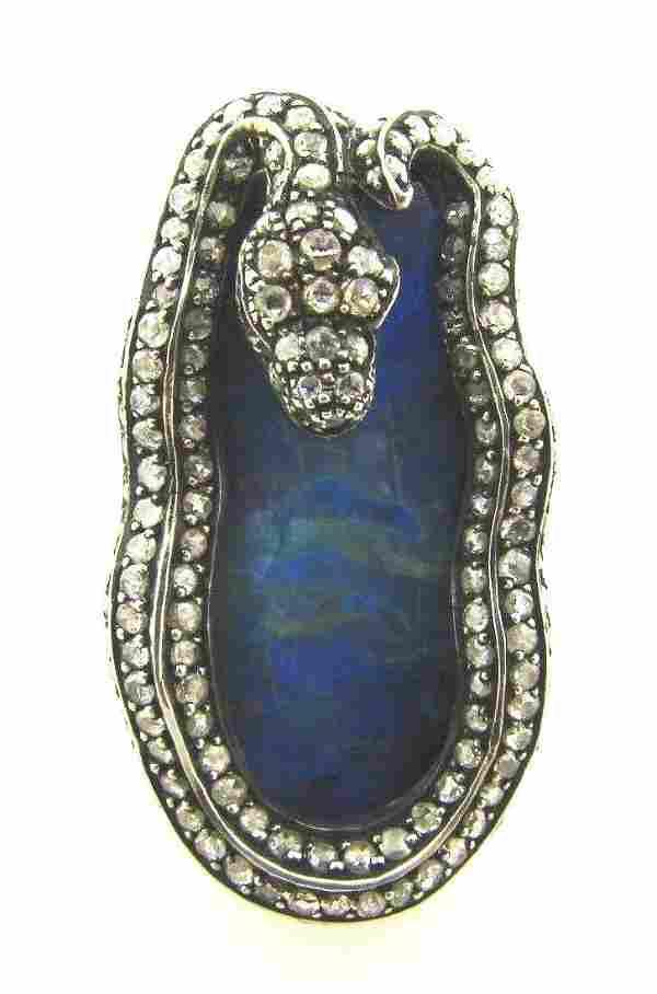 WOW Silver, 18k Yellow Gold, Opal, Diamond & Ruby Snake