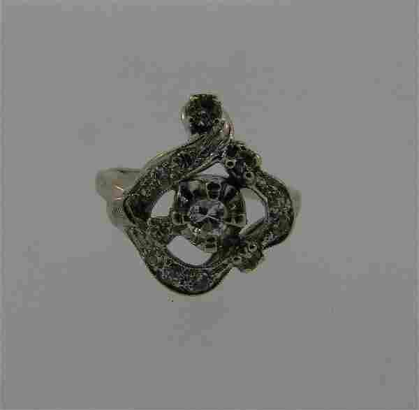 WOW 14k White Gold & Diamond Ring Circa 1960s