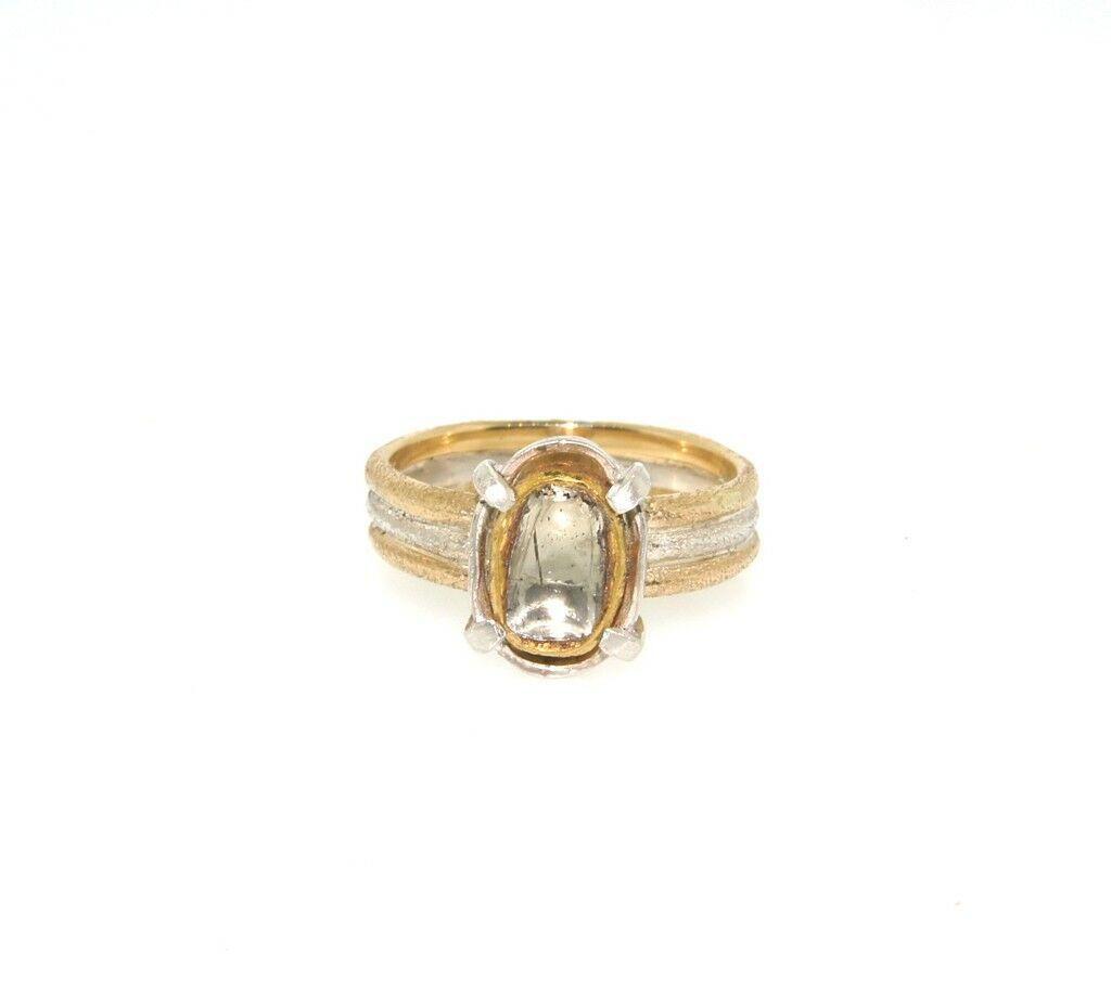 COOL 14k 2 Tone Gold & Rose Cut Diamond Ring