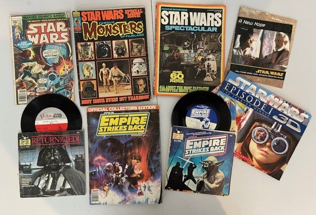 A COLLECTION OF STAR WARS BOOKS AND RECORDS