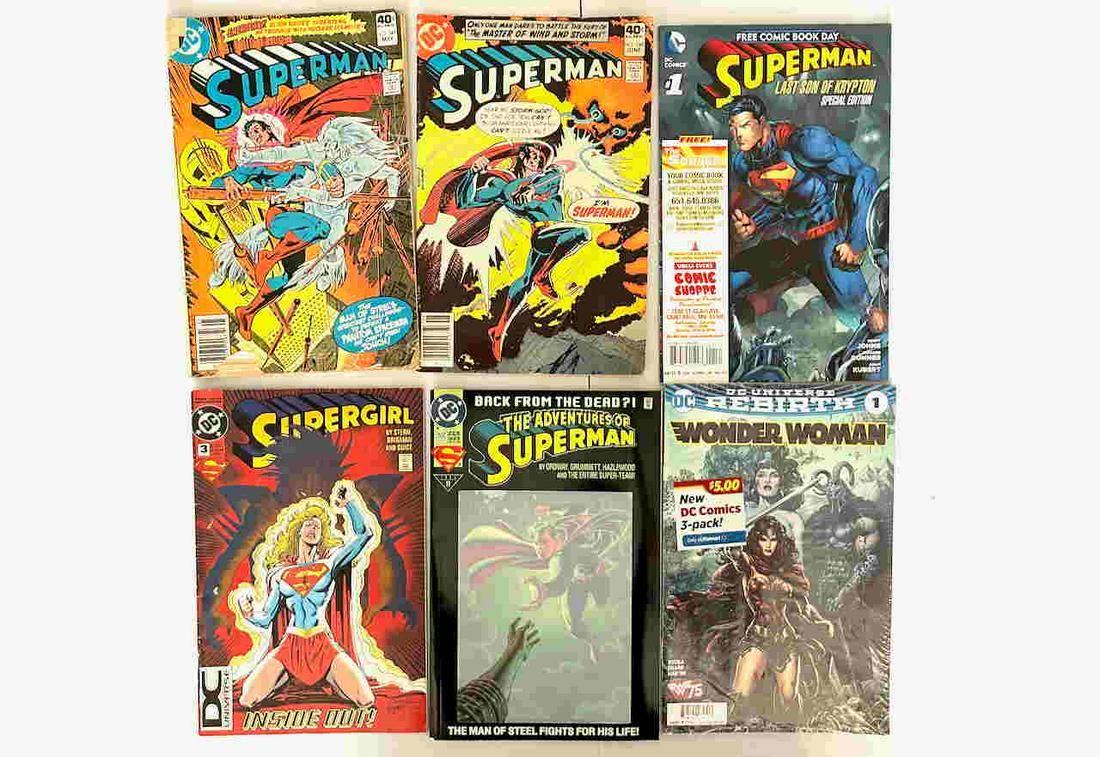 SUPERMAN, SUPERWOMAN AND WONDERWOMAN COMICS