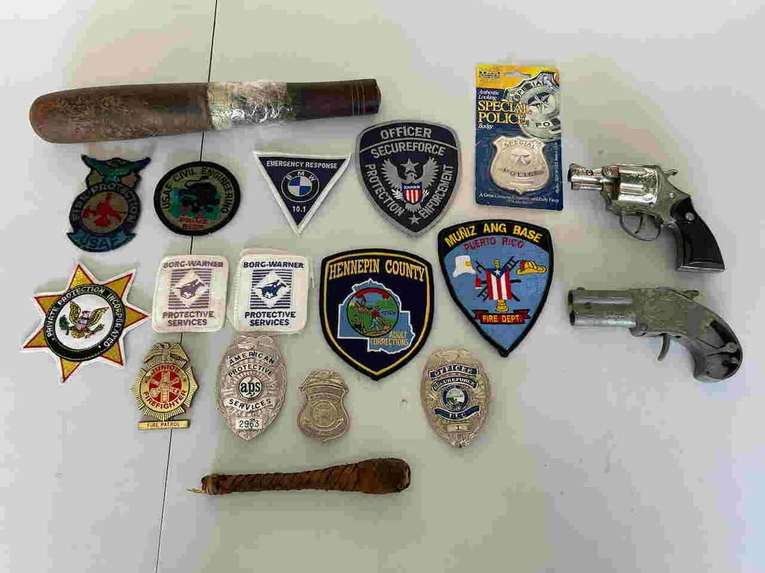 RARE POLICE BADGES AND VINTAGE BILLY CLUB / SAP