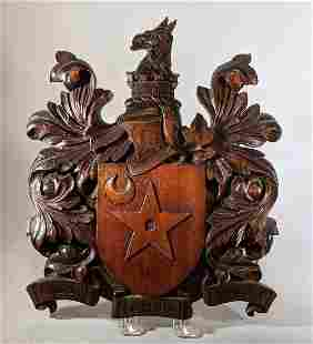 City of Wolverhampton 19th c. Carved Shield /