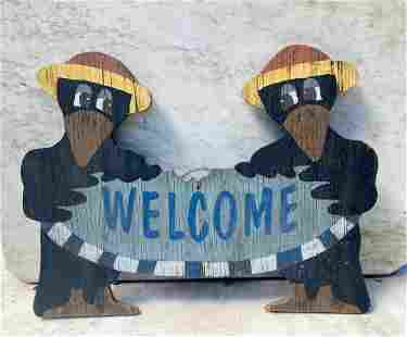 C1960 folk crows welcome sign