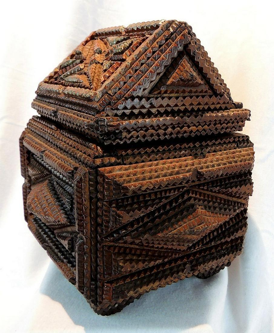 Whimsical 19th c. American Tramp Art Box