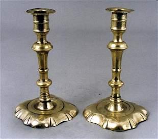 A good small pair of English brass ruffled base