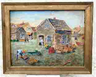 C1940's oil on board with lobster traps