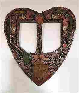 Tramp Art Heart-shaped Frame