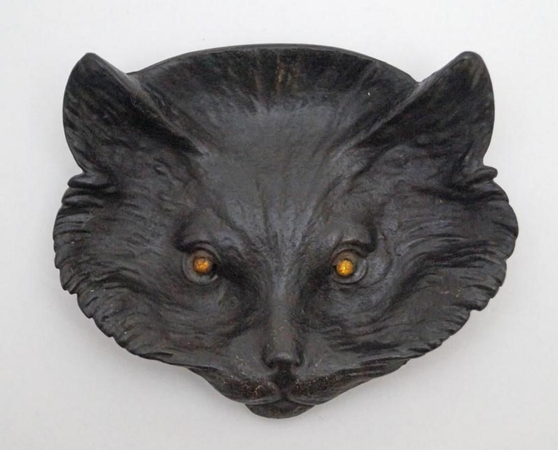 Antique Cat Cast Iron Tip Tray or Desk Accessory