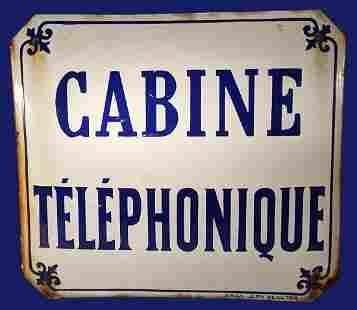Enameled Iron French Telephone Sign
