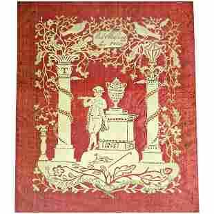 Cut Paper Scherenschnitte on Silk, 1853
