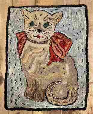C1930 green eyed cat hand hooked wool rug