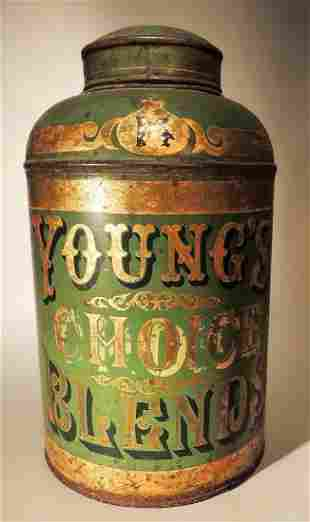Young Decorated Tin Tea Canister