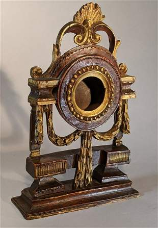 18th c. Carved & Painted Elaborate Watch Hutch