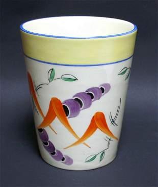 Vintage Hand Painted Art Deco Pottery Czech Vase